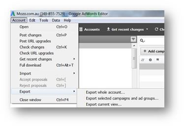 Adwords Editor Exporting Data