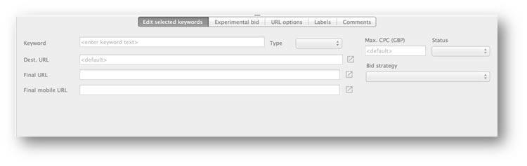 AdWords Editor Keyword Settings