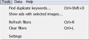 Adwords Editor Tools Menu