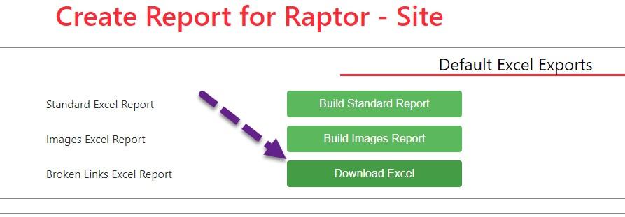 Download a broken link report in Raptor Digital Marketing tools web crawler.
