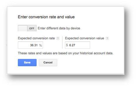 Keyword Planner Conversion Rate