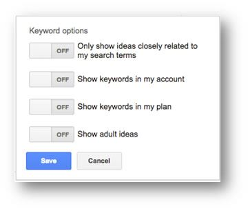 Keyword Tool Options
