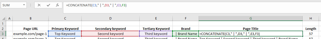 Formulas For Page Titles
