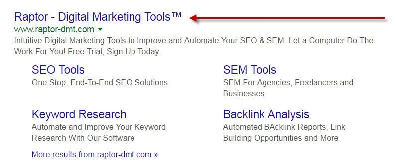 Page Title in SERPs