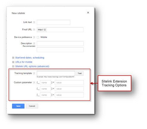 Sitelink Extension Tracking Options