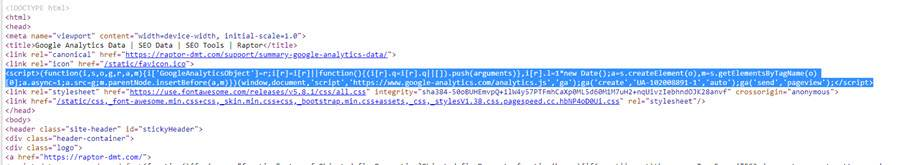 Google Analytics Code in the HTML