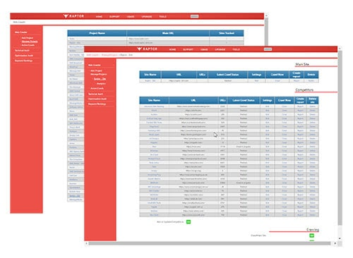 The dashboard of the new Raptor Digital Marketing tools web crawler.